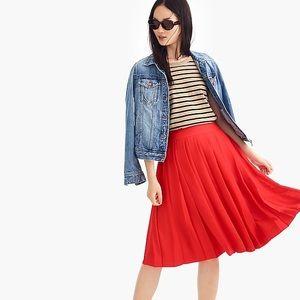 JCrew red chiffon pleated skirt bottom 0